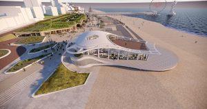 impressie nieuw paviljoen boulevard Scheveningen